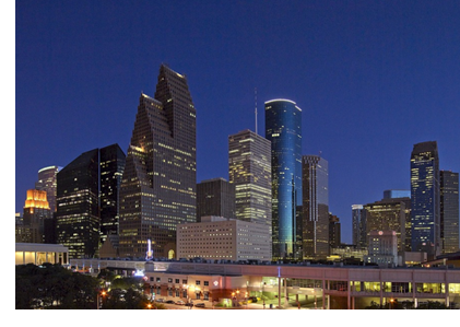 A portion of houston's skyline