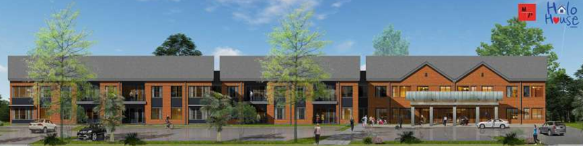 A rendering of the Halo House apartments underway near the Texas Medical Center.