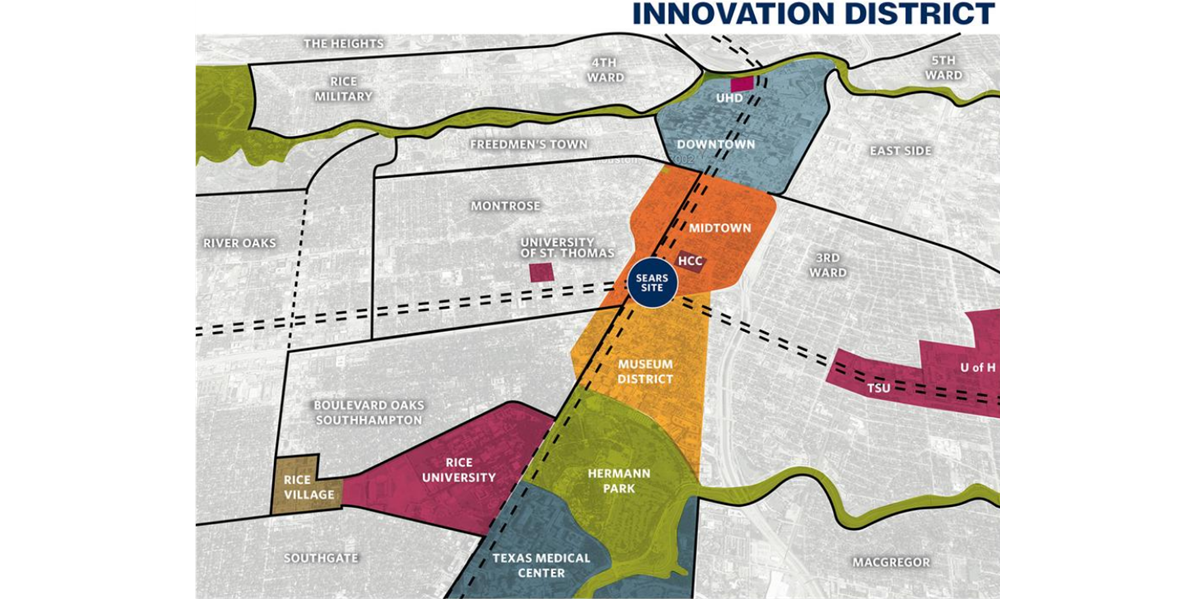 The former Sears campus is expected to act as the heart of what will serve as Houston's innovation corridor.