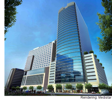 A rendering of Medistar's new 550,000-square-foot medial tower that'll sit across the street from its dual hotel-multifamily development.