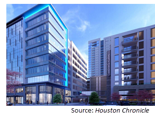 Rendering of the office building and its lower level retail space.