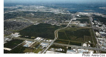An aerial view of the land.