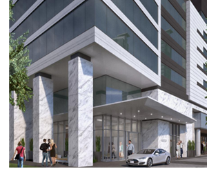 A rendering of the Hanover River Oaks, a 40-story high-rise off Kirby and Steele Street.