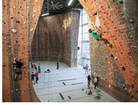 Inside a Momentum Indoor Climbing facility