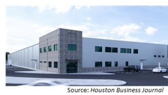 Rendering of 64,000-sf manufacturing facility.