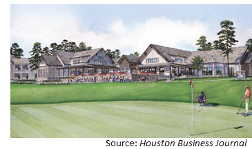 Rendering of the clubhouse in the background with two people putting on the green.