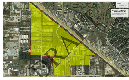 A draft indicates the proposed boundaries for the Jersey Village Crossing TIRZ.