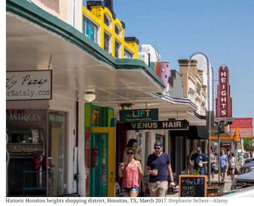 Historic Houston Heights shopping district, Houston, TX, March 2017 Stephanie Sellers—Alamy