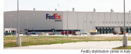 Picture of the FedEx distribution facility in Katy