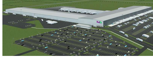 aerial view of what new FedEx distribution center will look like