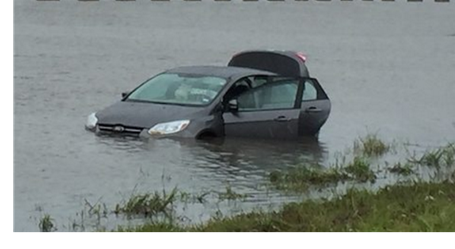 Picture of a flooded car