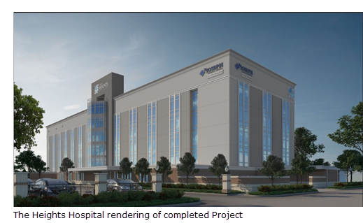A rendering of The Heights Hospital completed project
