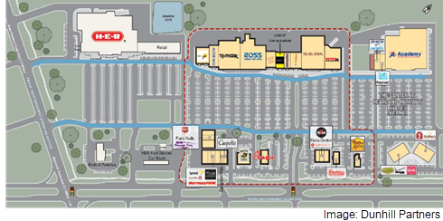 An aerial rendering of the Center at Pearland Pkwy. retail center, from Dunhill Partners.