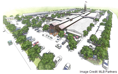 A rendering of the redeveloped Heights Farmers' Market by MLB Partners.