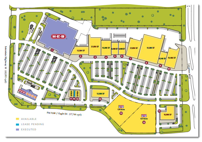 The site plan for the Mont Belvieu Marketplace.