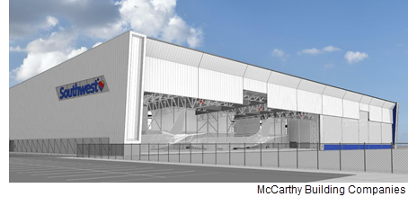 A rendering of the hangar from McCarthy Building Companies, Inc.