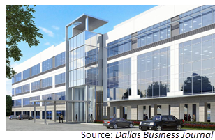 Rendering of one of the office buildings