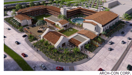 A rendering of the Valencia Texican Court Hotel by ARCH-CON CORP.