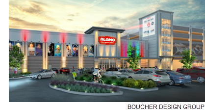 Rendering of the Alamo Drafthouse being built in LaCenterra.