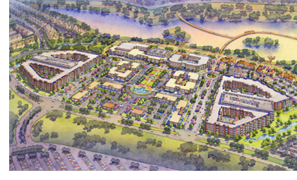 A rendering of the future Katy Boardwalk District.