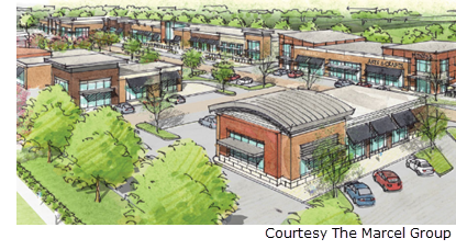 Marcel Plaza encompasses 10.7 acres and will be complete in the spring.