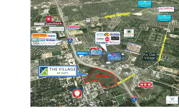 The site, marketed as The Village at Katy, is expected to be sold for various retail, restaurant, and hotel projects.