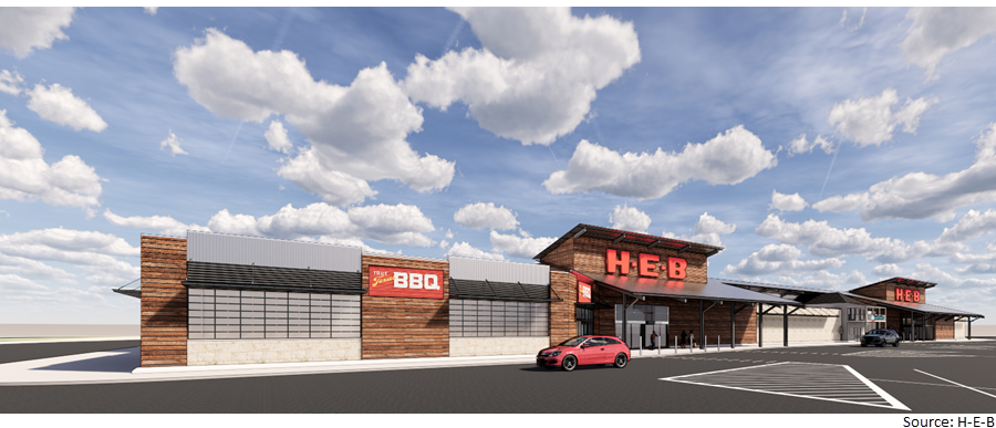 Rendering of new Kerrville H-E-B on Main St.