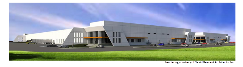 Rendering of Hays Logistics Center