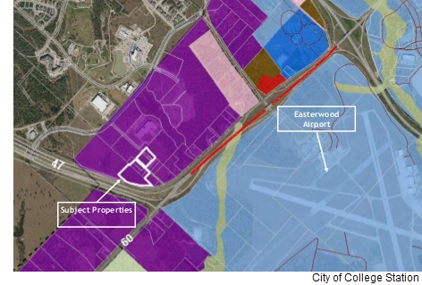 A color coded map outlining the affected properties and indicating the location of Easterwood Airport.