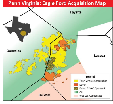Map showing Penn Virginia Eagle Ford land purchase from Devon Energy in Lavaca County.