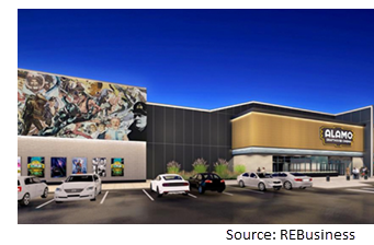 Rendering of the movie theater with a dark blue back drop.