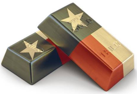 Gold bars with Texas flag overlay
