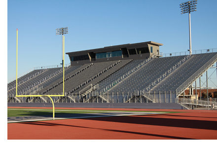 A view of the home side of the now-completed high school football stadium in Mission Texas.