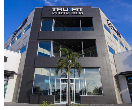 Pictured is the front facade of the Tru Fit Athletics Club building.