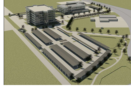A rendering of the completed Apache headquarters off of Veterans Airline lane. the parking lot and larger building are already completed.
