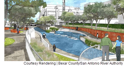 Rendering of the tentative design for a segment of San Pedro Creek near the Alameda Theater. The design, which is considered 70 percent complete, was authorized by Bexar County Commissioners Court on Tuesday, July 12, 2016.