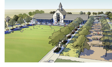 A rendering of the future community center at Pecan Square.