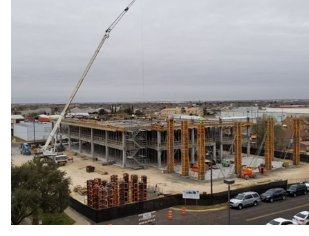 A view from the roof of the Texas Tech University Health Sciences Center Permian Basin Cinic of the $22.3 million construction project for the academic facility scheduled for completion in mid 2018.