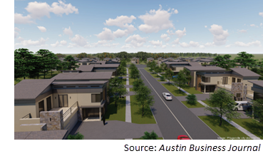 Rendering of Lakeside Meadows, a mixed-use project in Pflugerville