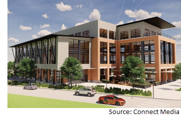 Rendering of Old Gin Pforum, an 87.5K-sf development at 310 E. Pecan St.