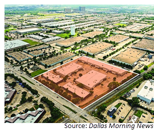 Birds-eye view of the Jupiter Business Park highlighted in red