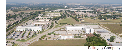 An aerial view of the International Business Park from Billingsly.