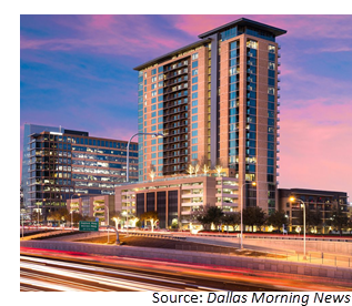 Street-view of the 25-story Kincaid at Legacy apartments in Plano