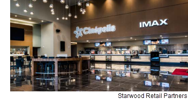 An image of a Cinepolis inside a mall, from Starwood Retail Partners.