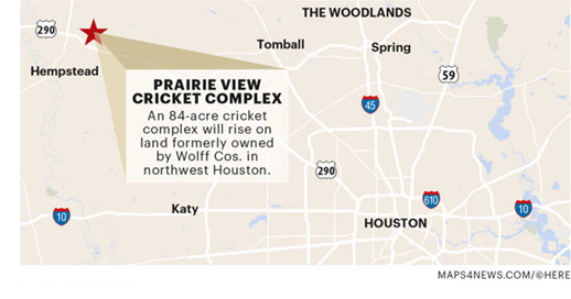 Tanweer Ahmed is developing an 84-acre cricket complex in far northwest Houston.