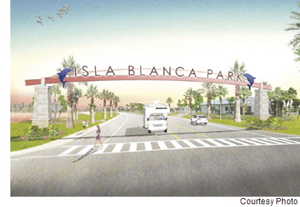 A rendering of an entrance to Isla Blanca Park.
