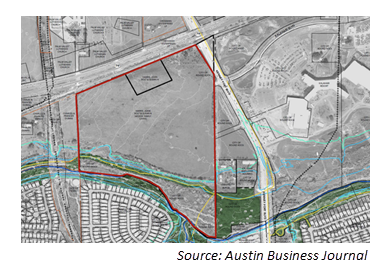 Map of site of 110-acre Milhaus development