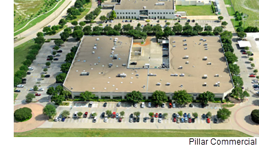 An aerial view of the 2703 Telecom building in Richardson's Telecom Corridor.