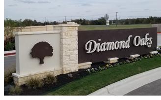 Diamond Oaks entrance sign.