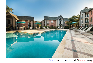 Poolside view of the Hill at Woodway at 10951 Laureate Dr.